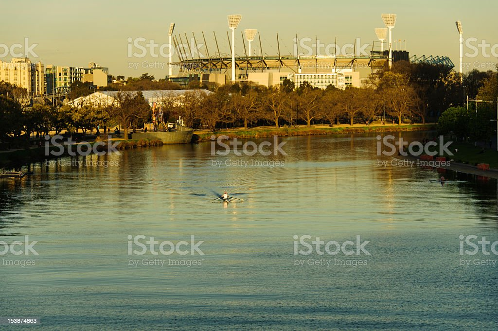 Melbourne Cricket Ground above the Yarra River stock photo