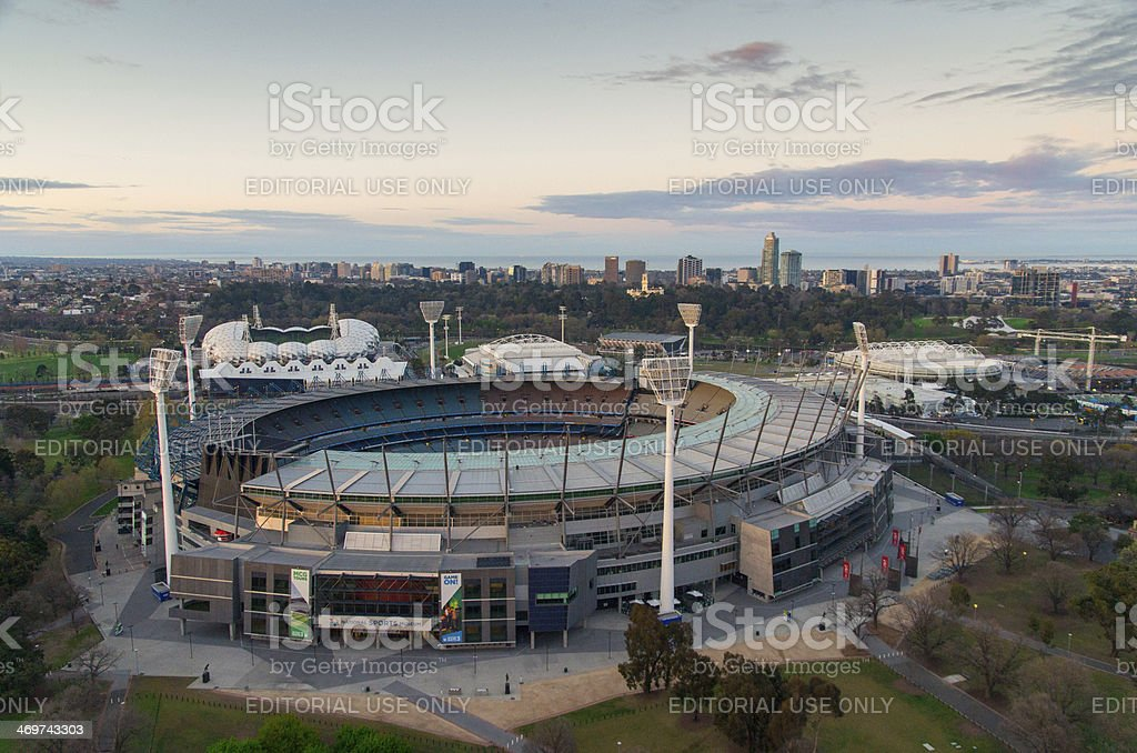 Melbourne Cricket Ground aerial view stock photo