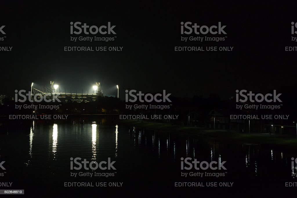 Melbourne Cricket Ground by night stock photo