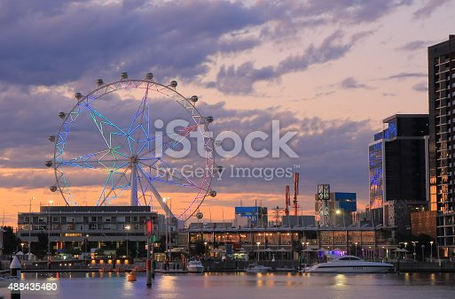 istock Melbourne Docklands sunset cityscape 488435460