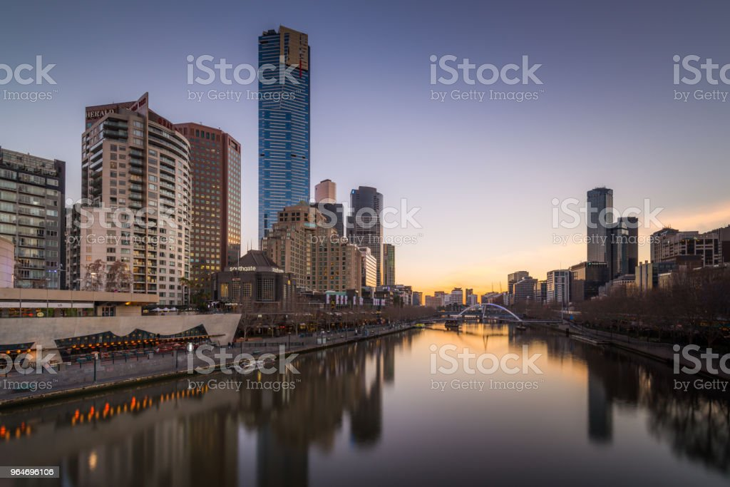 Melbourne Evening over Yarra River royalty-free stock photo