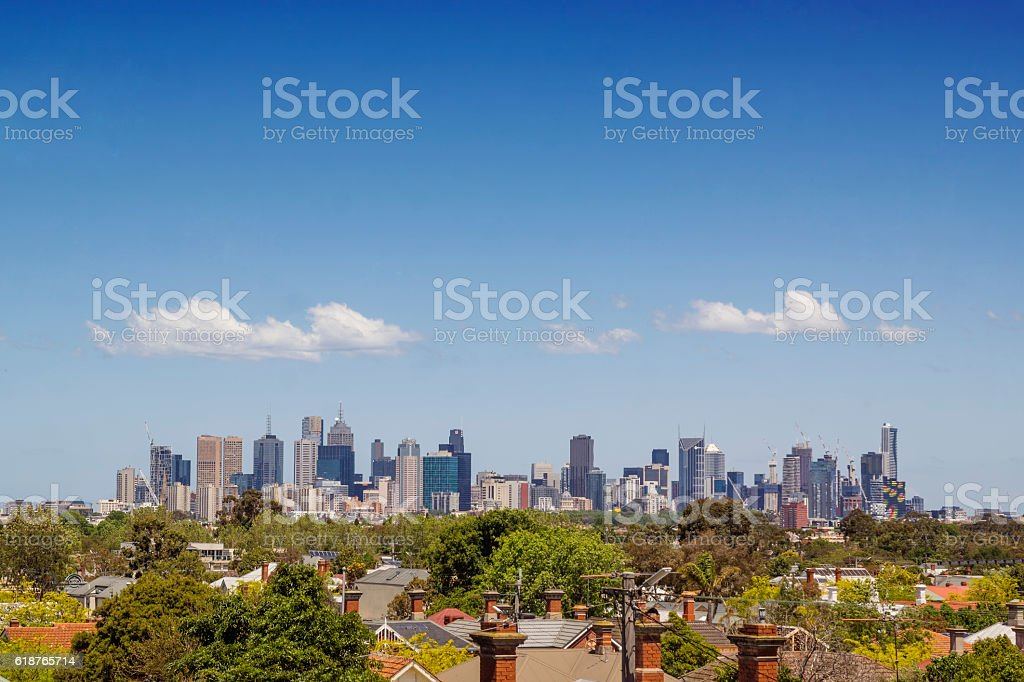 Melbourne from Ruckers Hill stock photo