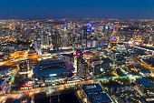 Aerial of the Melbourne, Yarra River, Australia