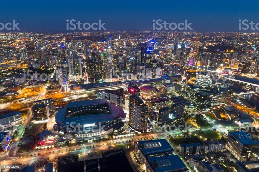 Melbourne Night Skyline, Yarra River, Australia stock photo