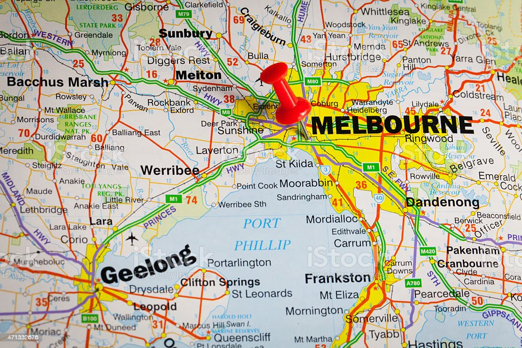 melbourne on the map royalty free stock photo