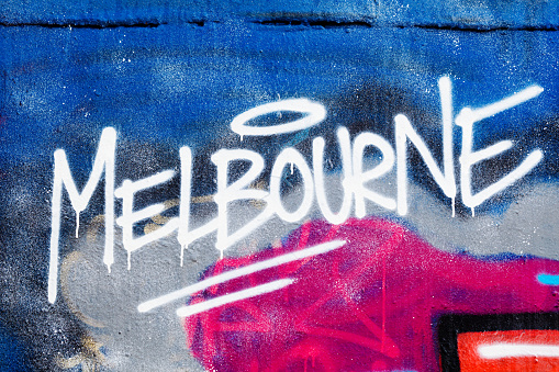 The word Melbourne painted illegally on public wall.