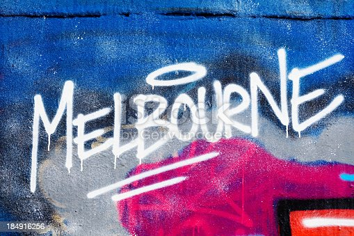 istock Melbourne painted illegally on public wall. 184916256