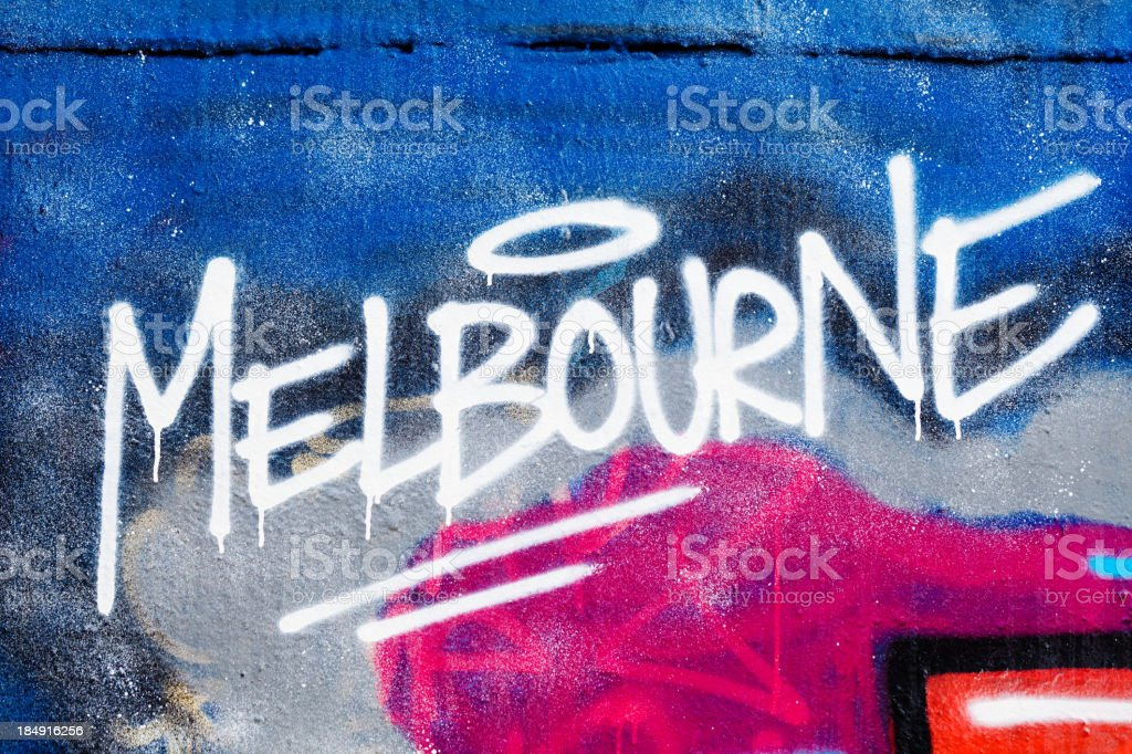 Melbourne painted illegally on public wall. stock photo