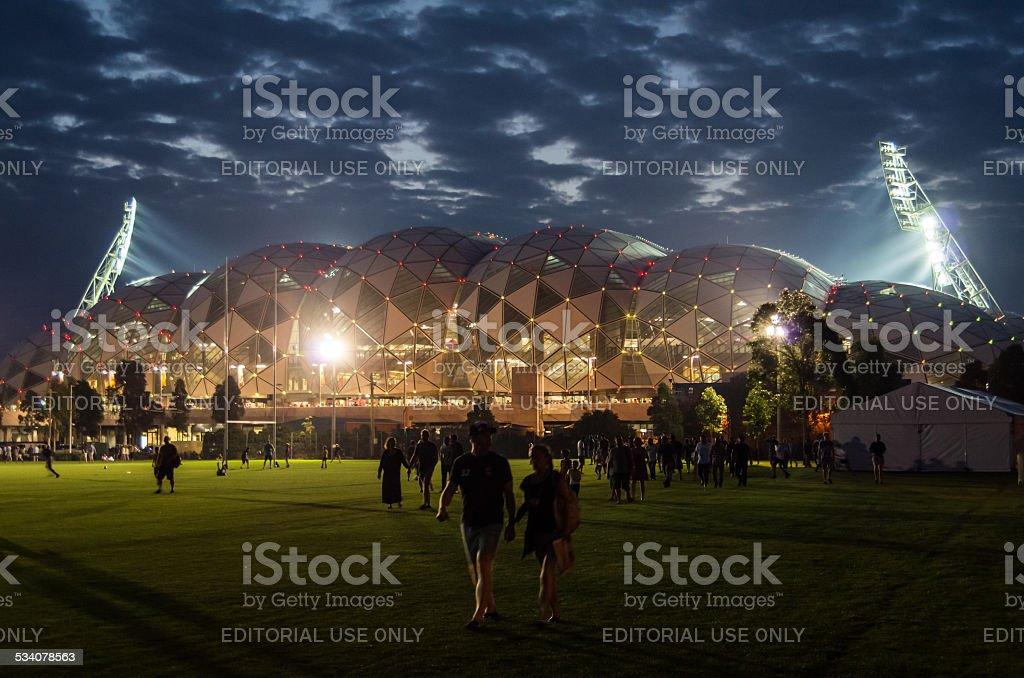 Melbourne Rectangular Stadium at night stock photo