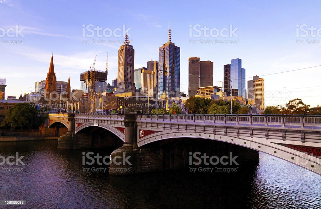 Melbourne Skyline and Princes Bridge stock photo