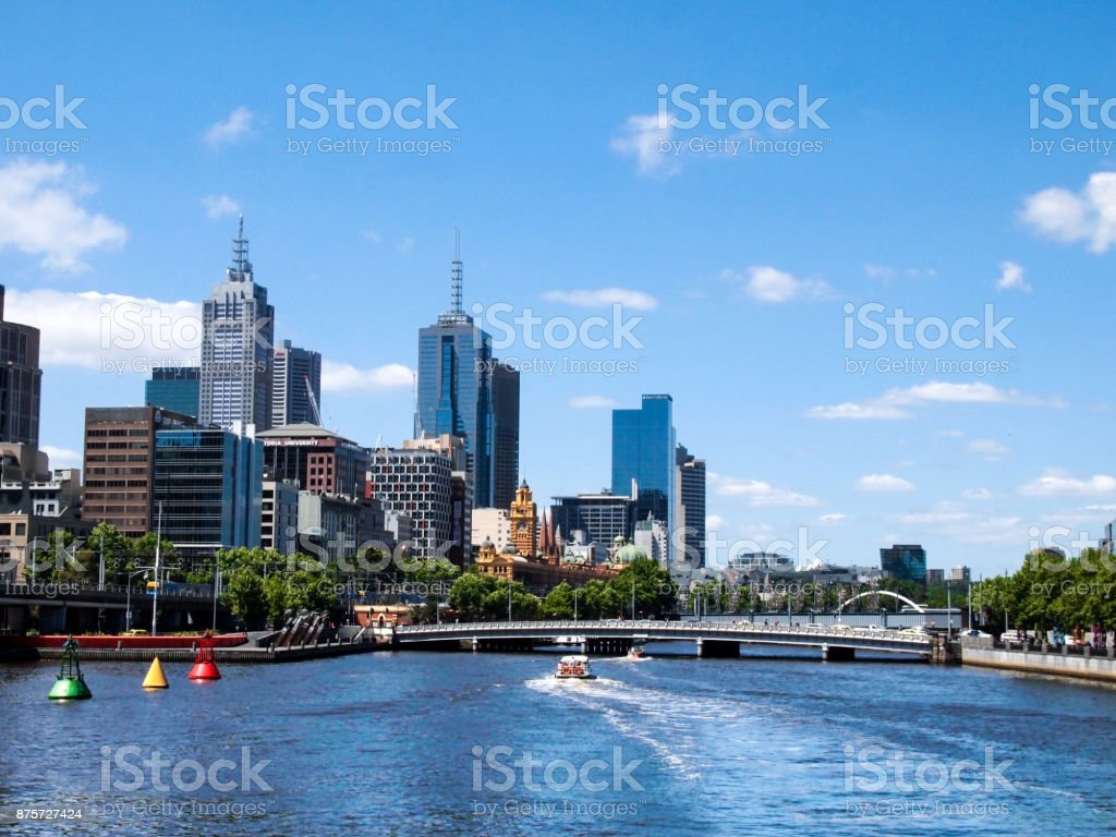 Melbourne Skyline and Yarra River stock photo