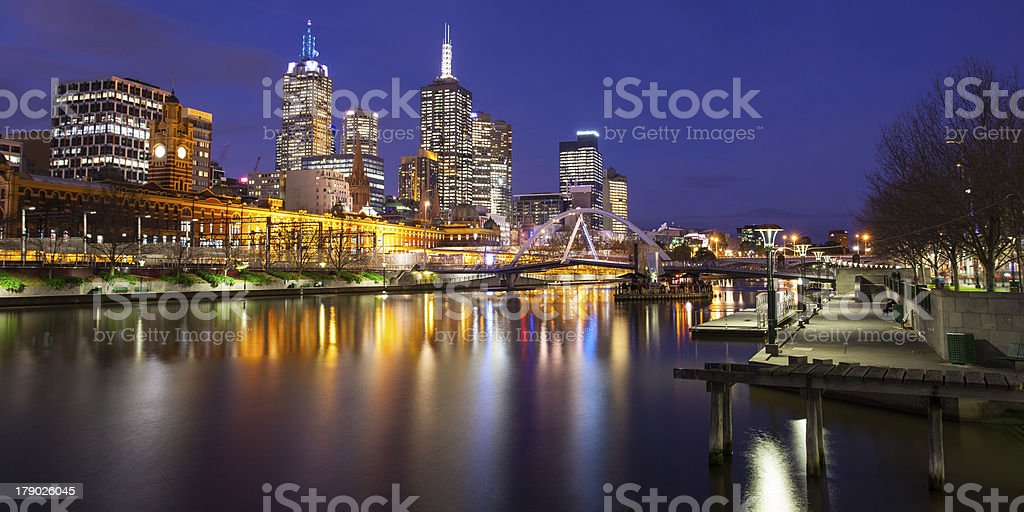 Melbourne Skyline at Dusk royalty-free stock photo
