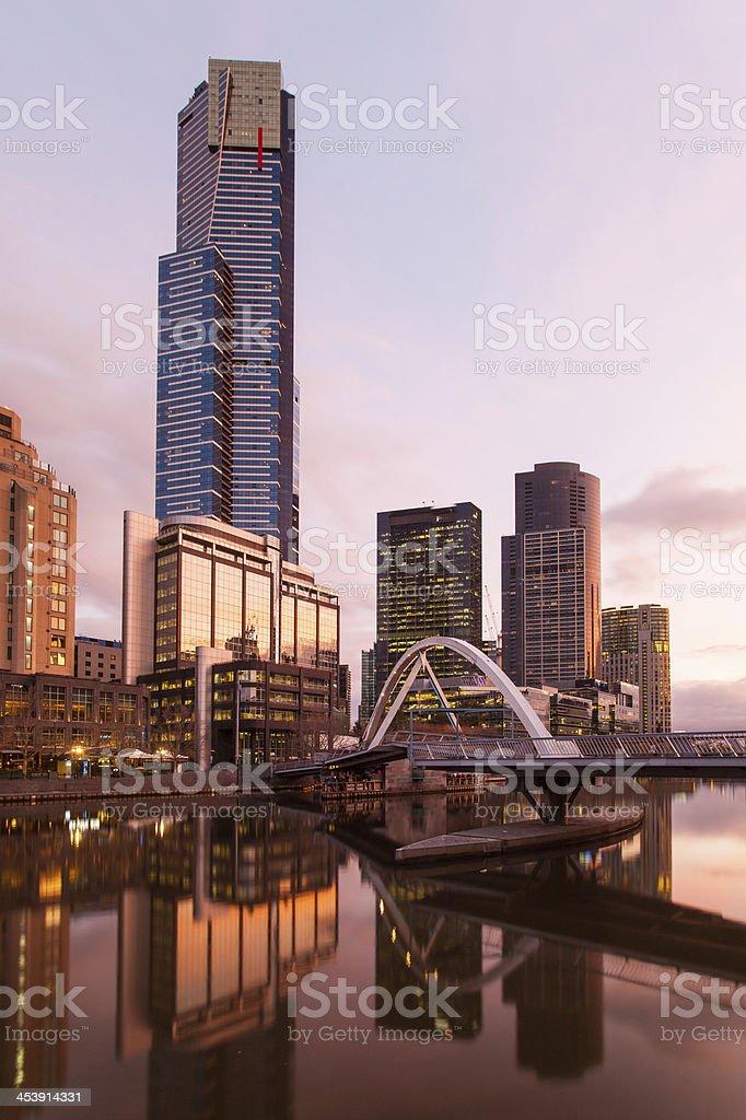 Melbourne Skyline at Dusk stock photo