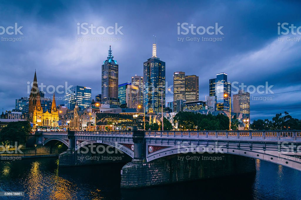 Melbourne Skyline at Night from Southbank stock photo