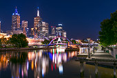 Melbourne, Australia, by night.  Yarra River and Princes Bridge.