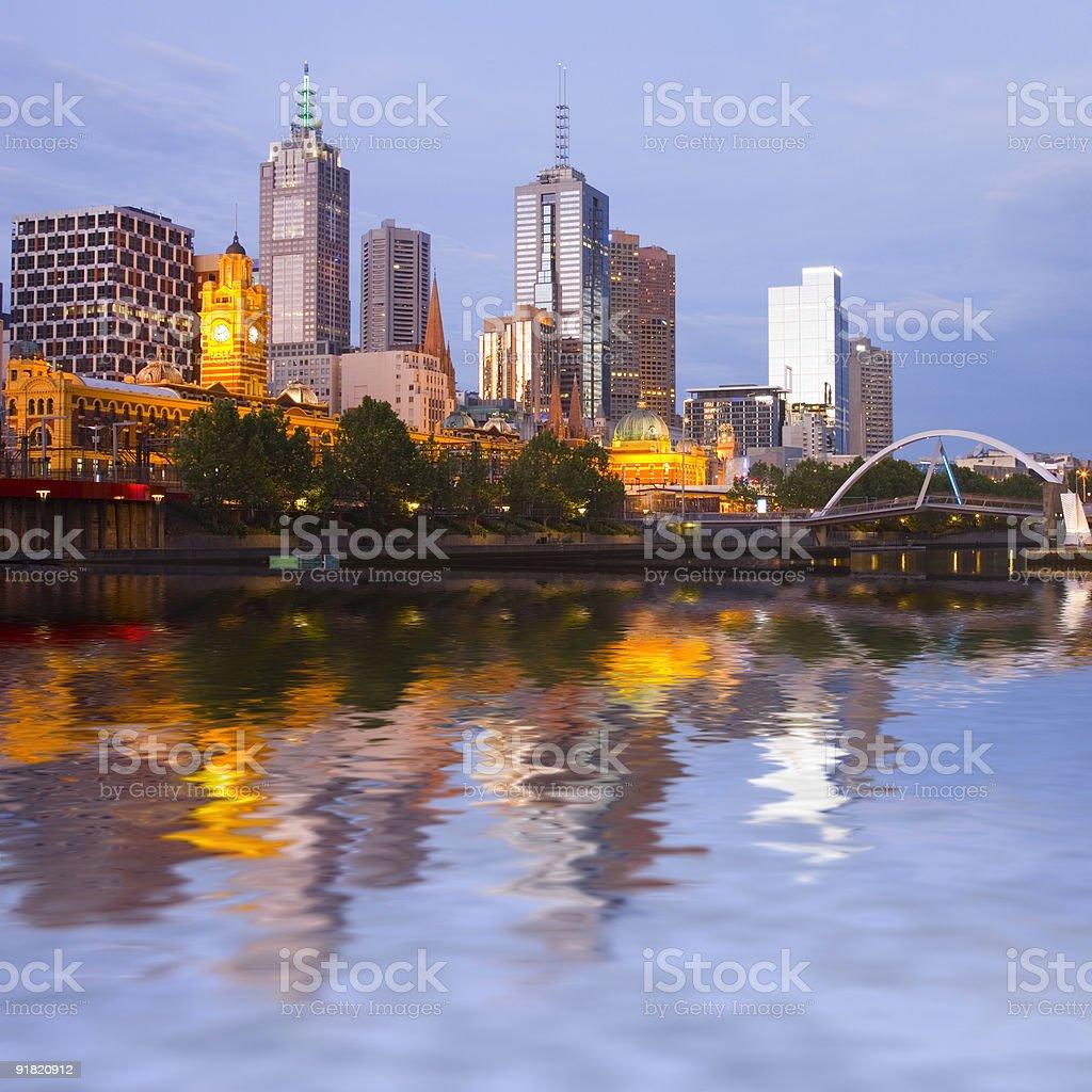 Melbourne Skyline at Twilight royalty-free stock photo