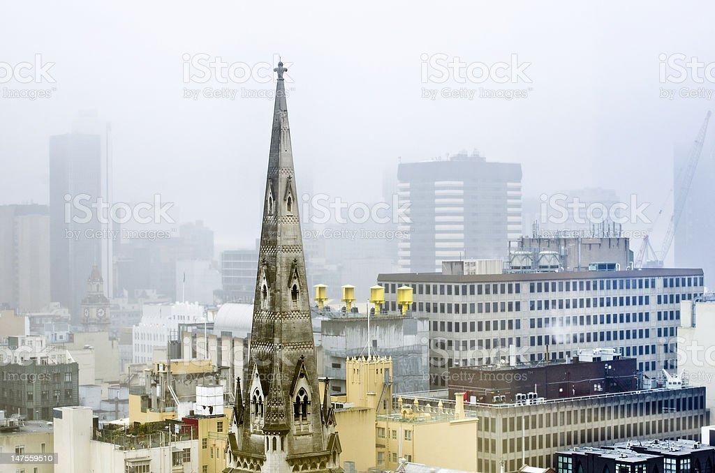 Melbourne skyline in pouring rain, Victoria, Australia royalty-free stock photo