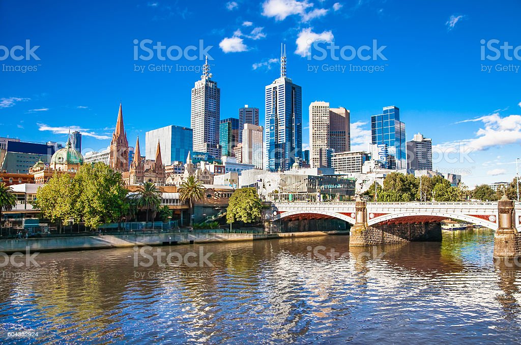 Melbourne skyline looking towards Flinders Street Station stock photo