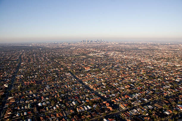Melbourne skyline aerial view of Melbourne and surrounding suburbs urban sprawl stock pictures, royalty-free photos & images