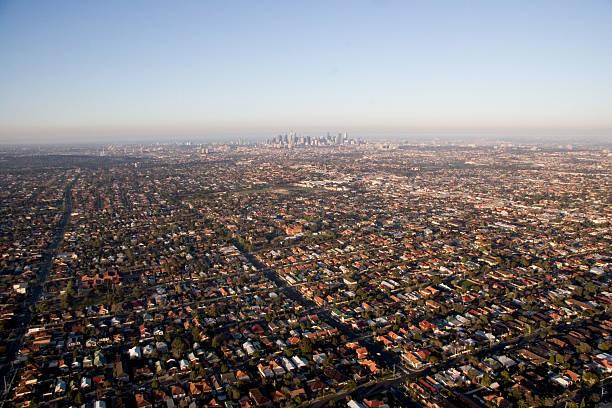 melbourne skyline - urban sprawl stock photos and pictures