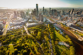 Aerial view of Melbourne Australia at sunset with landmarks