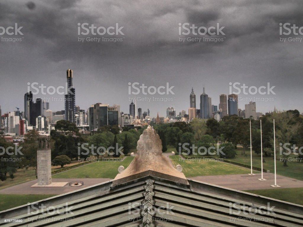 Melbourne Skyline under a dark, stormy sky stock photo