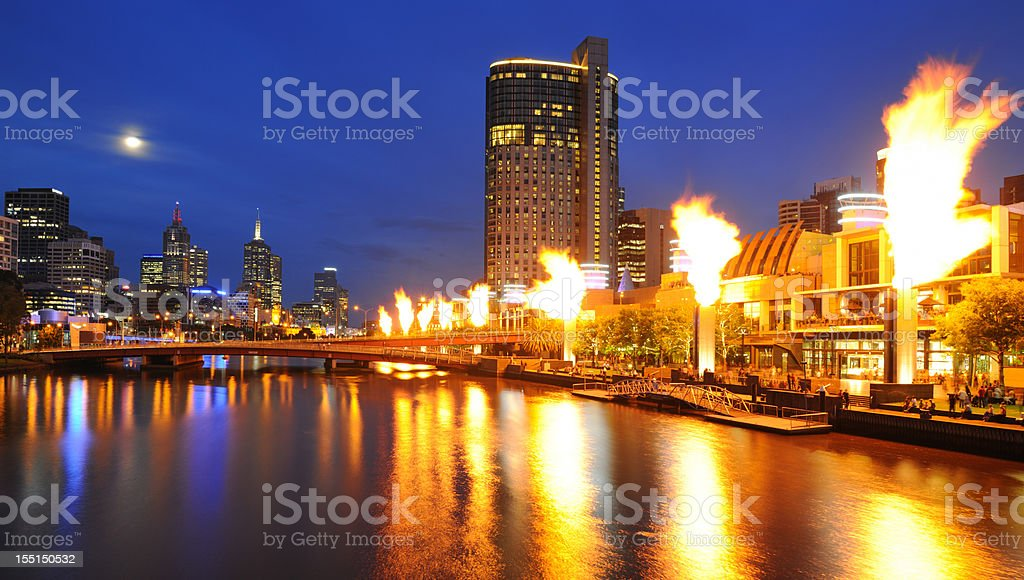 Melbourne Skyline with Full Moon and Fire Show (XXXL) stock photo