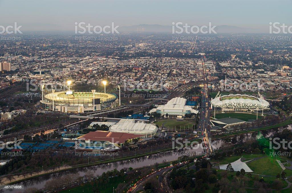 Melbourne sports precinct stock photo