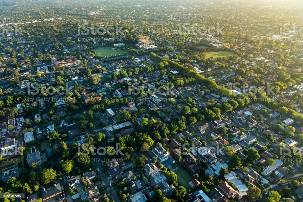 Melbourne suburb in the sunrise stock photo