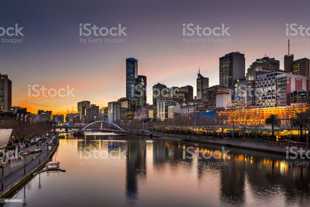 Melbourne Sunset over Yarra River royalty-free stock photo