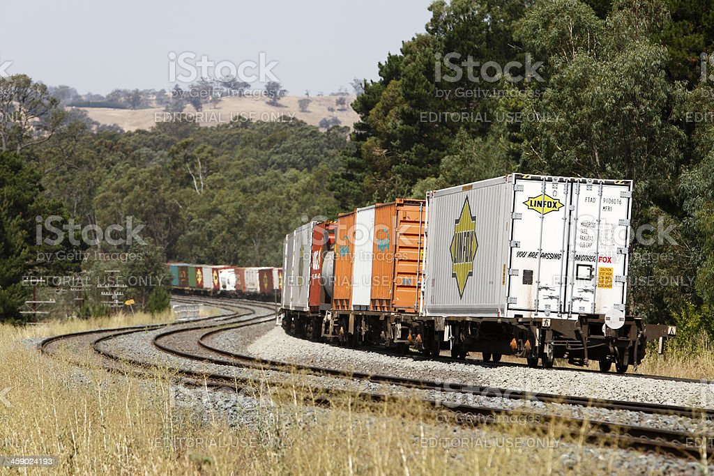 Melbourne to Sydney container train on S-curve royalty-free stock photo