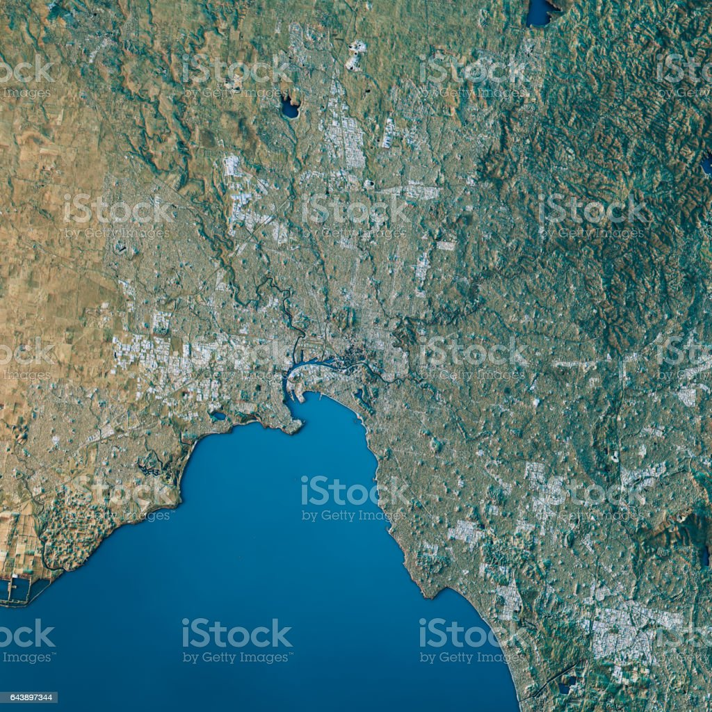Melbourne Topographic Map Natural Color Top View stock photo