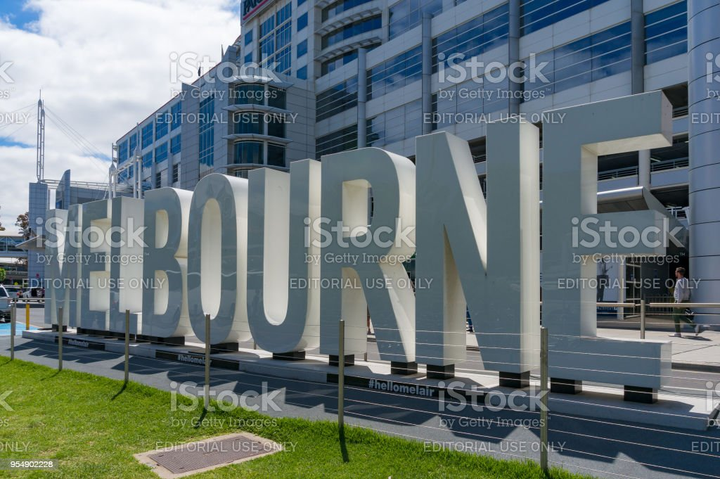 Melbourne welcome sign in Melbourne airport stock photo