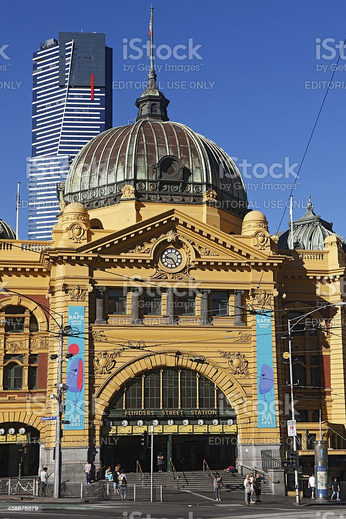Melbourne's Flinders Street Station with Eureka Tower royalty-free stock photo