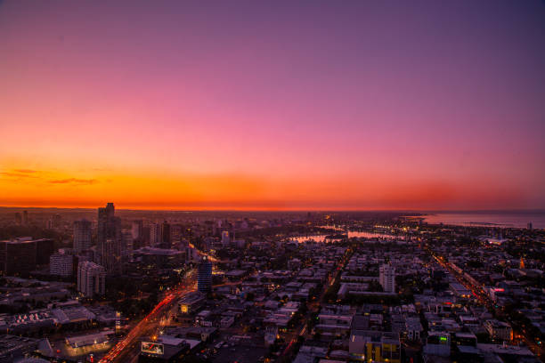 Melbourne's Southbank at Sunset stock photo