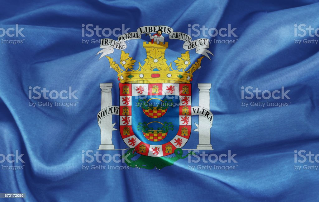 Melilla flag on the fabric texture stock photo