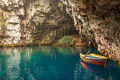 Melissani lake and cave is located near Sami, small town and port on Kefalonia island. Many tourists visiting this place all over the year.
