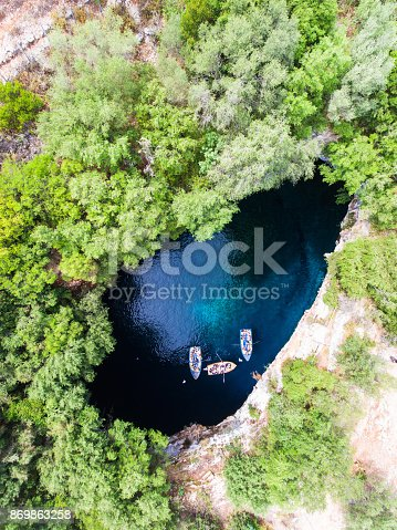 Melissani Cave aerial view. Kefalonia