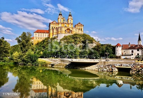 Melk Abbey is a Benedictine abbey above the town of Melk, Lower Austria, Austria, on a rocky outcrop overlooking the Danube river, adjoining the Wachau valley.