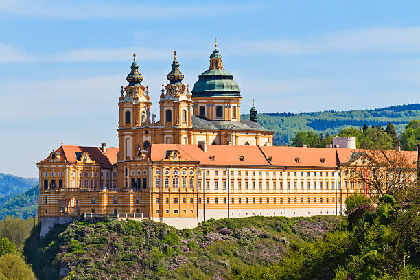 Melk - Famous Baroque Abbey (Stift Melk), Austria Melk Abbey is an Austrian Benedictine abbey and one of the world's most famous monastic sites abbey monastery stock pictures, royalty-free photos & images