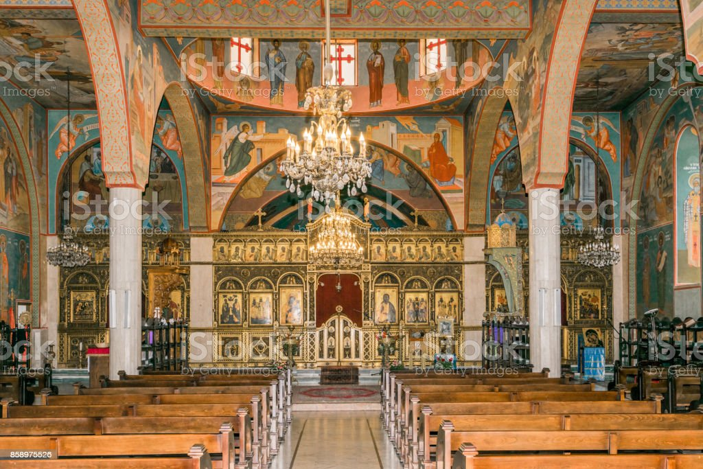 Melkite cathedral interior stock photo