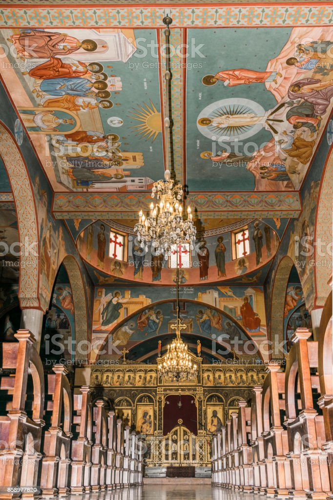 Melkite cathedral portrait stock photo