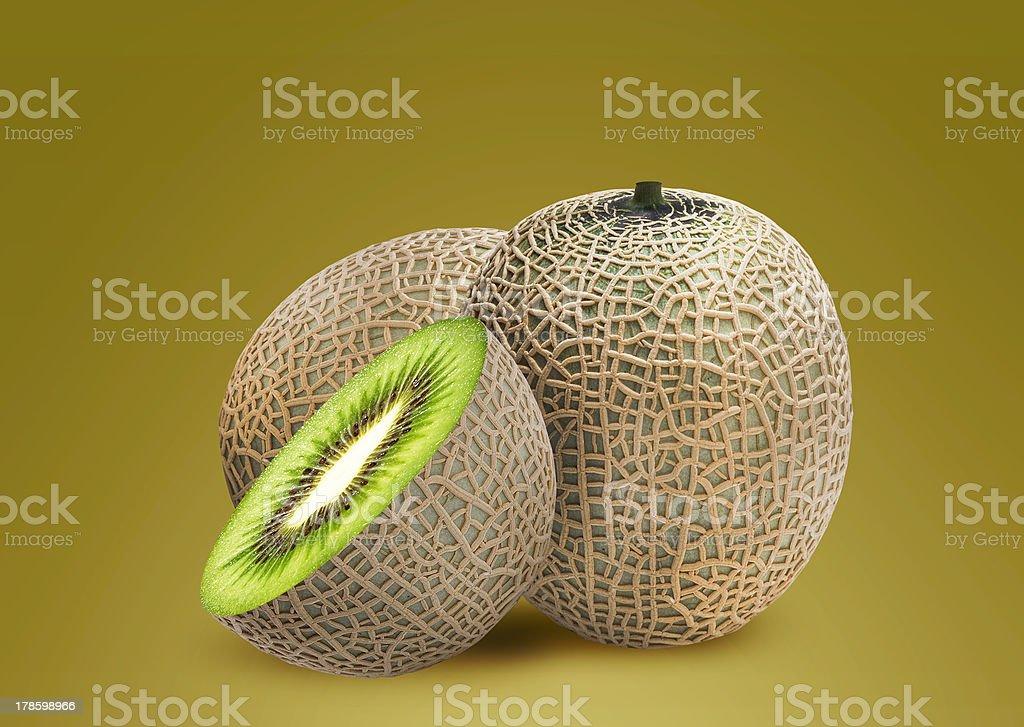 Melon and kiwi inside royalty-free stock photo