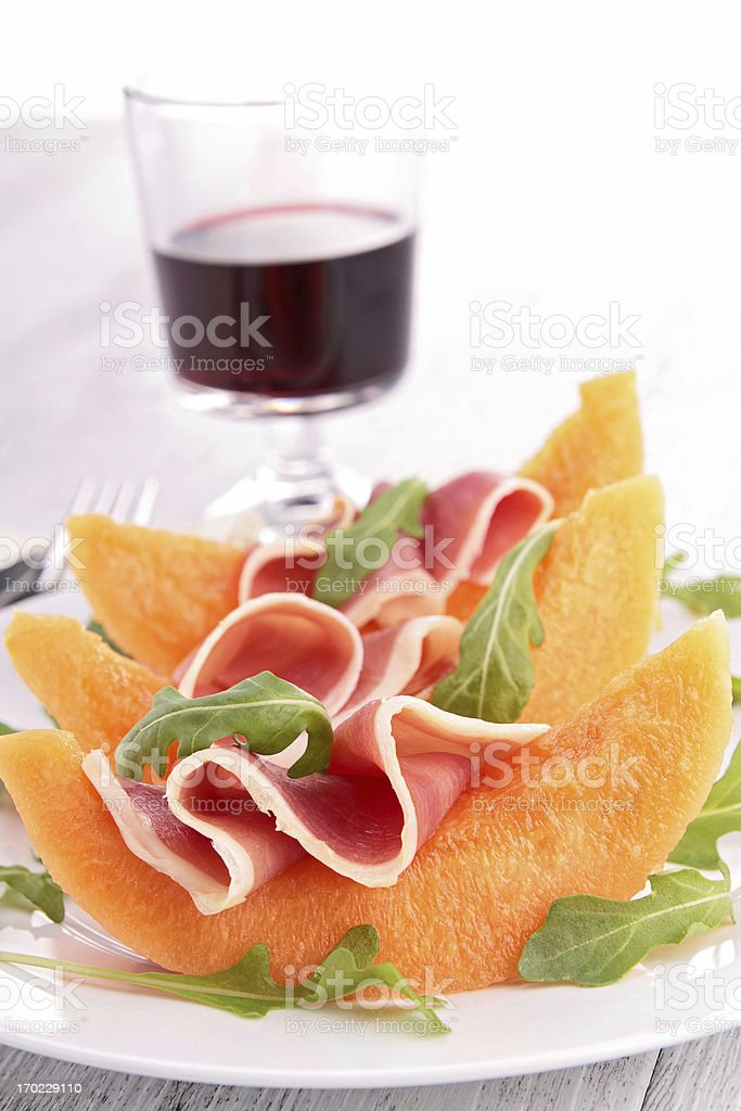 melon and prosciutto royalty-free stock photo
