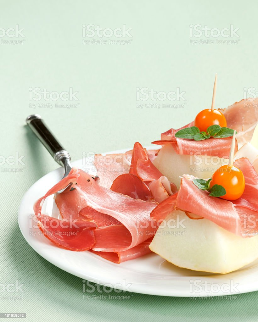 Melon canapes royalty-free stock photo