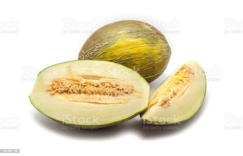 Melon cut pieces isolated on white background foto de stock royalty-free