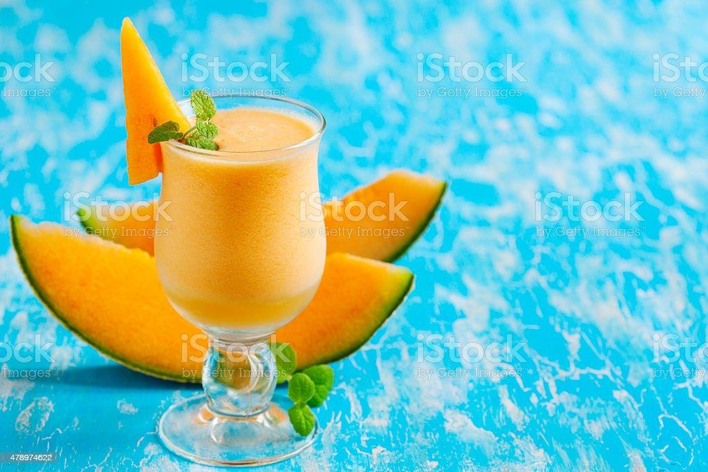 Melon drink in glasses. 'Cantaloupe Breeze' stock photo