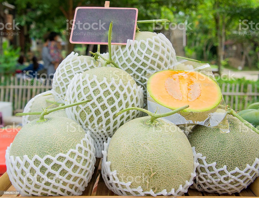 Melon heap with paper label. royalty-free stock photo