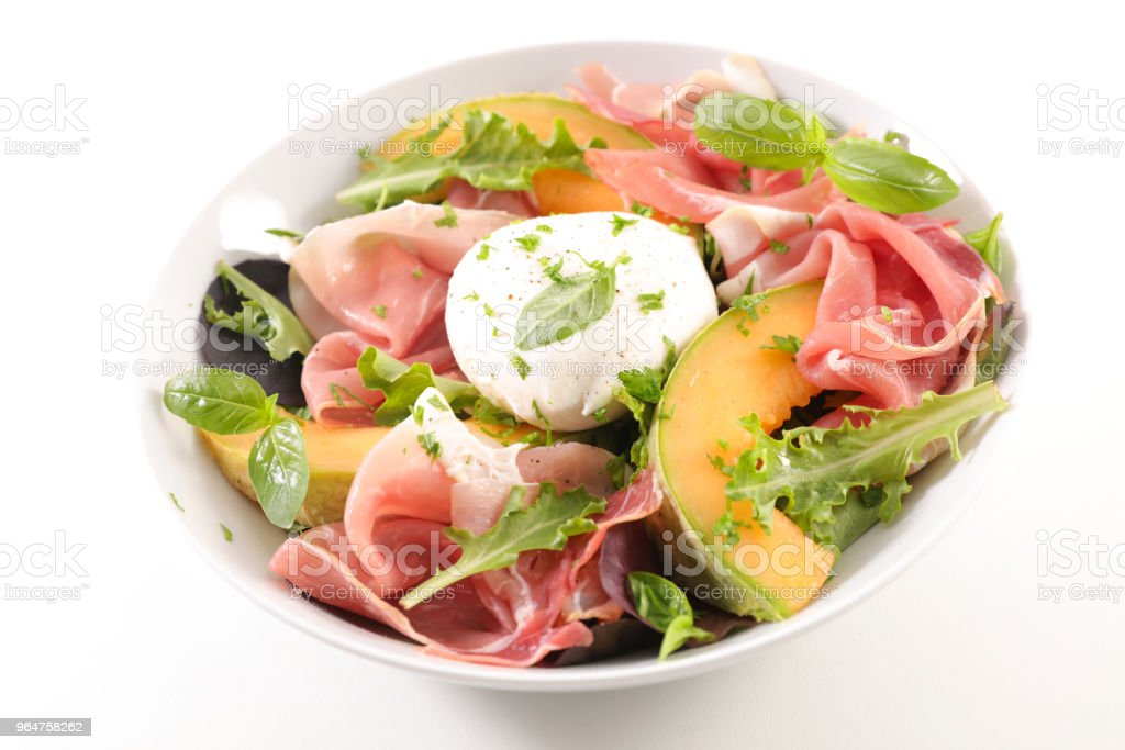 melon, mozzarella and prosciutto ham salad royalty-free stock photo