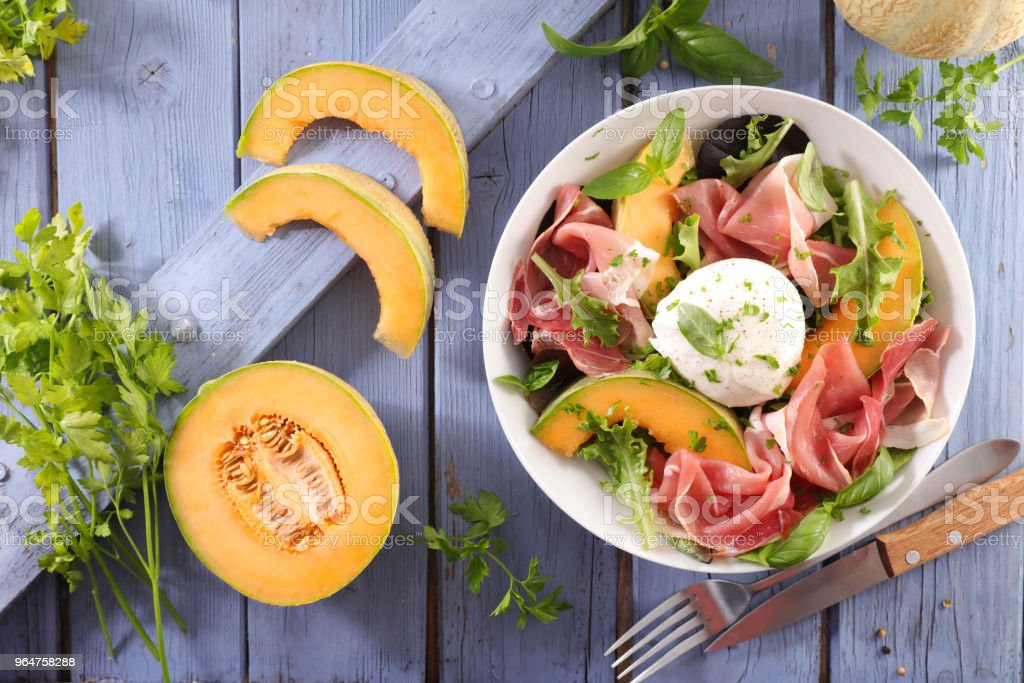 melon, mozzarella and prosciutto ham salad royalty-free stock photo